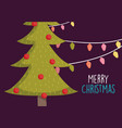 merry christmas celebration cute tree with balls vector image