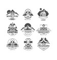 mountain expedition logo set camping trekking vector image