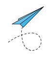 paper plane flying on white background vector image vector image