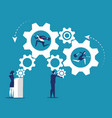 people and business industry working gears vector image vector image