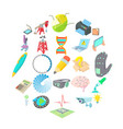pioneer work icons set cartoon style vector image vector image