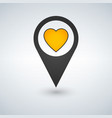 pointer pin with yellow heart web design element vector image vector image
