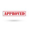 red approved stamp logo vector image