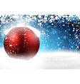 Red bauble over winter background vector image vector image