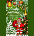 santa with gift banner for christmas greeting card vector image vector image