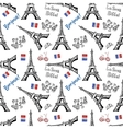seamless background with symbols paris vector image