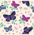 seamless pattern with bright butterflies leaves vector image vector image