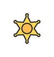 sheriff badge police star flat color icon vector image