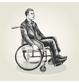 Sketch of a person on wheelchair vector image vector image