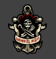 skull pirate and anchor cutout version vector image vector image