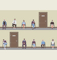 social distancing people sitting on chairs in vector image vector image
