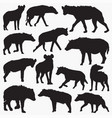 spotted hyena silhouettes vector image vector image