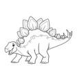 stegosaurus cartoon bw vector image vector image