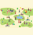 summer public park with active people family vector image vector image