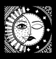 sun and month black and white vector image vector image