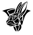 tribal tattoo art with stylized black rabbit head vector image vector image