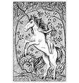 unicorn engraved fantasy vector image vector image