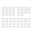 white puzzle pieces in isometric style vector image