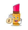 with money bag lipstick character cartoon style vector image