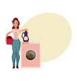 young woman housewife standing next to washing vector image vector image