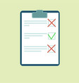 clipboard with green tick and red crosses vector image
