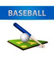 Baseball Ball Bat and Green Field Emblem vector image