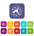 aids virus icons set vector image vector image