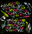 alphabet font in graffiti style on a dark vector image