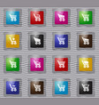 basket glass icons set vector image