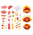 bbq barbecue party icons set vector image vector image