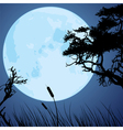 big blue moon and silhouettes of tree branches vector image vector image