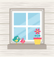 birds flower and window on the wood background vector image vector image