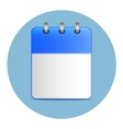 Blank white sheet of calendar in blue color vector image vector image