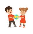 boy and girl fighting for the ball vector image vector image