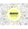 breakfast and brunches top view frame vector image vector image