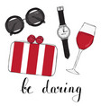 card with womens glasses bag and a glass of wine vector image vector image