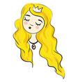 cartoon a sleeping blonde princesse on white vector image vector image