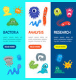 cartoon bacteria characters banner vecrtical set vector image