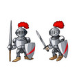 cartoon medieval knight with shield and sword vector image vector image