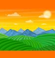 cartoon tea plantation green fields landscape vector image vector image