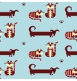 Cat and dog seamless pattern vector image vector image