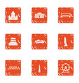 center of capital icons set grunge style vector image vector image