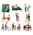 couple in daily life set vector image vector image