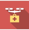 Drug Drone Delivery Flat Square Icon with Long vector image vector image