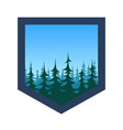 expedition badge with forest under blue sky vector image