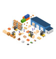 exterior warehouse building business delivery vector image vector image