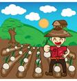 Farmer and onion plants a harvest cartoon vector image vector image