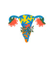 female reproductive system with bright flowers and vector image vector image