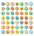 Flat Round School Subjects Icons with Long Shadows vector image vector image