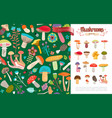 flat summer forest mushrooms concept vector image vector image